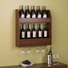 Warm Charlie Cherry Floating Wine and Liquor Rack | Overstock.com Shopping - The Best Deals on Wine Racks