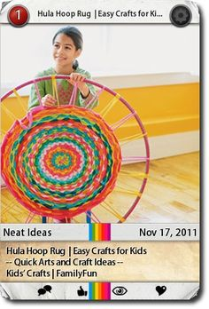 Hula Hoop Rug  | Easy Crafts for Kids -- Quick Arts and Craft Ideas --  Kids' Crafts | FamilyFun    Instructions:  ...