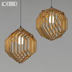 El ikea Nordic hexagonal personalidad creativa fresno de manchuria real lámpara de techo de madera para sala de estar / comedor / dormitorio