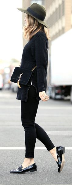 Loafers + wide brimmed hat. More