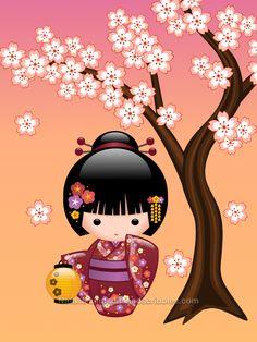 Sakura Kokeshi Doll - Cute Geisha Girl on Peach Notebook - girl gifts special unique diy gift idea Japanese Geisha, Cute Japanese, Japanese Doll, Chibi, Doll Tattoo, Art Carte, Art Asiatique, Sakura, Art Et Illustration