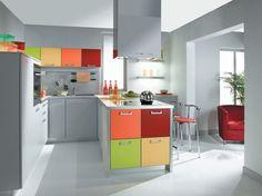 Contemporary #kitchen   #colourfulkitchen #greykitchen    melamine TEQUILA PYRAM MULTI COLOUR INDUSTRIES
