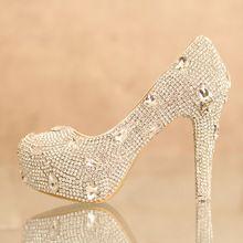 Completa rhinestone nupcial capa sapatos de salto alto cristal de strass sapatos brancos diamante plataforma calcanhar grosso sapatos de casamento(China (Mainland))