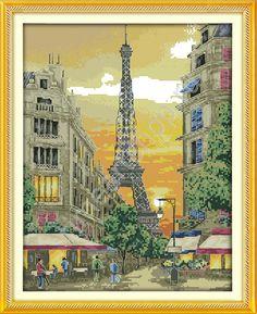 Закат в Париже, набор для вышивки крестом (печатная схема на канве, размер канвы 11+бумажный дубликат+ нити+иглы)производство КНР