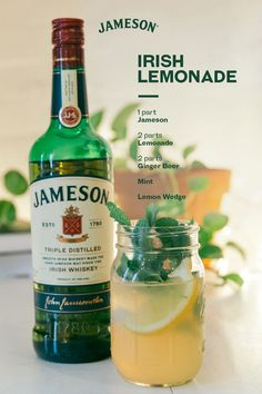Lemonade, but make it adult. We're mixing up a simple summer favorite with Jameson, lemonade, and ginger beer. Jameson Whiskey Drinks, Whiskey Cocktails, Cocktail Drinks, Alcoholic Drinks, Jameson Irish Whiskey, Beverages, Mixed Drinks Alcohol, Alcohol Drink Recipes, Beer Mixed Drinks