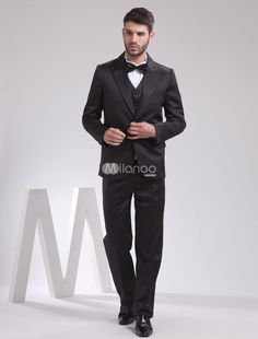 Quality Black Satin Groom Wedding Tuxedo. The top, pants and vest are included.. See More Groom Suits and Tuxedos at http://www.ourgreatshop.com/Groom-Suits-Tuxedos-C918.aspx