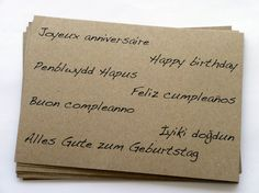 Multilingual Birthday postcards on recycled kraft paper