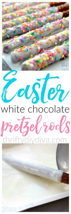 Peeps fans, you'll love these special Easter White Chocolate Dipped Pretzel Rods, decorated in colorful sprinkles! Perfect for Spring birthdays, too! Add this to your Easter recipes board!