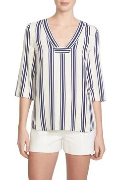 1 state stripe woven top available at nordstrom Blouse Styles, Blouse Designs, Modele Hijab, Striped Fabrics, Couture, Short Tops, Blouses For Women, Ideias Fashion, Women Wear