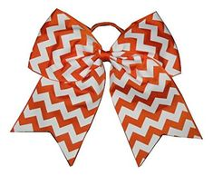 NEW 'CHEVRON Orange' Cheer Bow Pony Tail 3' Ribbon Girls Hair Bows Cheerleading Practice Football Games School Uniform Hairbow * Continue to the product at the image link.