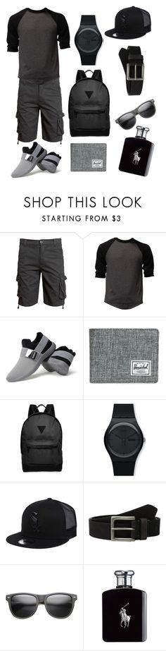 """""""Easy Black"""" by luisferni-1988 ❤ liked on Polyvore featuring Herschel Supply Co., River Island, Swatch, New Era, Timberland, ZeroUV, Ralph Lauren, men's fashion and menswear"""