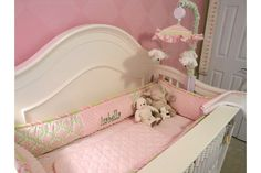 Crib Inside Bedding- It was custom design.  Bedding from Polka Tot Designs. Mobile was also custom made to match bedding.