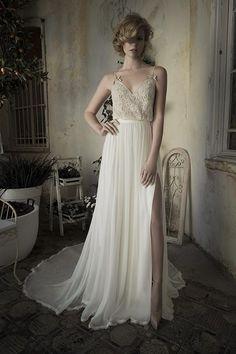 Wholesale Wedding Dresses - Buy Backless Wedding Dresses A-Line Spaghetti Chiffon Bridal Gowns Beads Split Side Sleeveless Sweep Train Lihi Hod 2014 Spring, $101.47 | DHgate