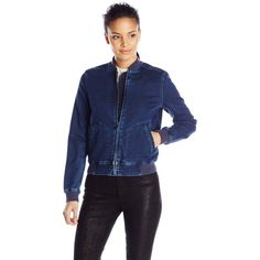 Calvin Klein Jeans Women's Knit Indigo Bomber ($66) ❤ liked on Polyvore featuring outerwear, jackets, calvin klein jeans, bomber style jacket, flight bomber jacket, flight jacket and full zip jacket