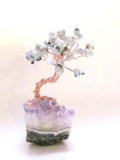 Gem Tree - Sesame Jasper Stone Leaves on Amethyst Crystals Base by SplendidStones, $22.00