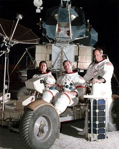 Jim Irwin and Dave Scott pose with the training Rover, while Al Worden keeps a hand on the subsatellite that he would release into lunar orbit. #science #space #astronaut