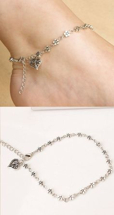 Cute Heart-Shaped Small Flower Anklet Hollow Foot Accessory Ring Anklet C'est us accessoire que Chevron Ring, Heart Shaped Rings, Bridal Jewelry Sets, Simple Necklace, Fine Jewelry, Jewelry Rings, Ankle Jewelry, Jewellery, Anklet