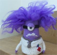 I crocheted this purple  Minion to my friend who is a doctor and just love these Minions