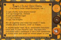 Peanut Butter Bon Bons aka Buckeyes:) Recipe card made digitally with Photoshop Elements.