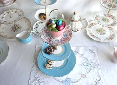 Vintage tiered cake stand: bone china 3 tier 'mad hatter' cupcake display, a lovely combination of turquoise blue and pink