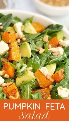 Pumpkin Avocado Feta Salad - a tasty combination of sweet pumpkin, creamy avocado, sharp lemony feta, topped with pine nuts and a super simple dressing. This pumpkin feta salad will be your next party favourite! Healthy Salad Recipes, Vegan Recipes Easy, Vegetarian Recipes, Cooking Recipes, Organic Recipes, Pumpkin And Feta Salad, Ensalada Thai, Feta Salat, Pumpkin Recipes