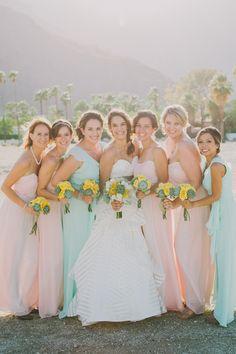 pastel bridesmaid dresses, photo by Fondly Forever http://ruffledblog.com/palm-springs-wedding-with-succulents #bridesmaids #bridesmaiddresses