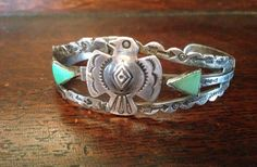 Vintage LARGE CUFF INDIAN NAVAJO PAWN BRACELET Sterling SILVER EAGLE TURQUOISE in Jewelry & Watches | eBay