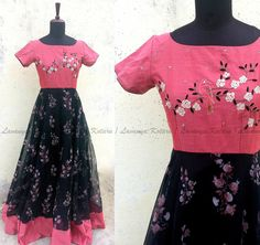 Gowns Long Gown Dress, Lehnga Dress, Lehenga Gown, Frock Dress, Long Gowns, Long Dress Design, Dress Neck Designs, Blouse Designs, Pink Floral Maxi Dress