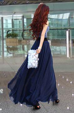 Chiffon Maxi Skirt-Spring Long Skirt Maxi Dress Women Silk Skirt Summer Beach Skirt In Dark Blue-WH103 ,105cm