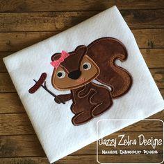 Squirrel Girl with Hotdog Appliqué Embroidery by JazzyZebraDesigns