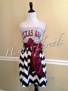 Texas A&M Aggies Gig Em Football Strapless Tube Gameday Dress by hautethreadsboutique on Etsy, $50.00