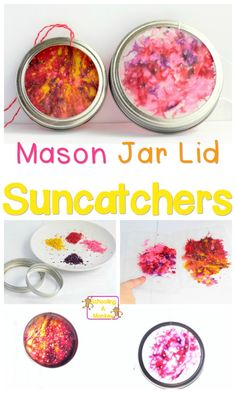 Use those leftover Mason jar lids to make these super-simple suncatcher Mason jar lid crafts that are the perfect craft project for any time of year!