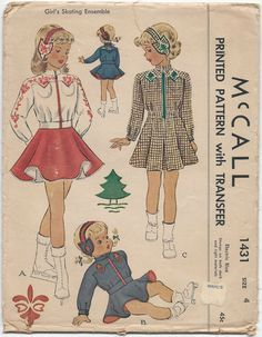 1940s Vintage Sewing Pattern McCall 143 Antique Girls Ice Skating Ensemble
