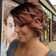 Rooted rose gold hair color and gorgeous makeup by... - Head Candy
