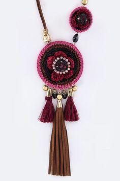 Mix Tassel Crochet Boho Suede Necklace