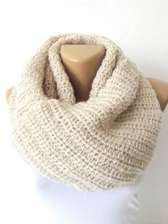 Knitted infinity Scarf. Block Infinity Scarf. Loop Scarf, Circle Scarf, Neck Warmer. white Knitted Infinity