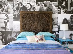 The global chic bedroom features a Brazilian headboard and vibrant, textured bedding. Custom wallpaper made from the family's black-and-white photos personalizes the bedroom.