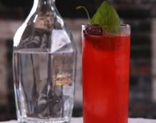 Cherry Basil Collins Cocktail: the epitome of a fresh, seasonal cocktail! Check it out here on Kathy Casey's Liquid Kitchen for the Small Screen Network #summer #basil #cocktail kathycasey.com