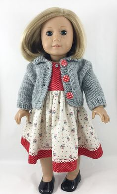 "Fits American Girl 18"" Dolls Hand Knit Cardigan Sweater and Sleeveless Dress Grey Red and Cream"