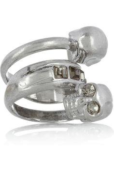 Alexander McQueen|Silver-tone Swarovski crystal double-skull ring|NET-A-PORTER.COM