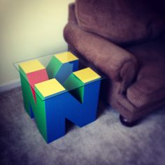 """This is my newest edition to my game room. It is the letter """"N"""" from the Nintendo 64 logo coffee table."""