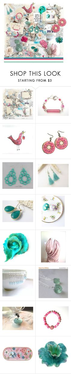 """Pink and Teal"" by marlena-rakoczy ❤ liked on Polyvore featuring Anello, PiP Studio and Cara"