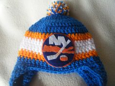 ad715abf9 Crocheted New York Islander s Inspired or (Choose your team) Baby Beanie Hat  - Made to Order - Handmade by Me