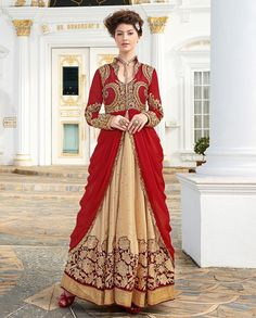 Red and beige anarkali with golden thread flora embroidery   1. Red and beige embroidered anarkali suit2. Golden thread floral embroidered motif all over flare3. Comes with matching bottom and dupatta4. Can be stitched upto size 44 inches top length 52 to 55