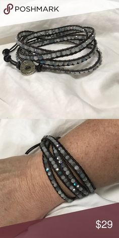 Leather Wrap bracelet with Semi precious stones NWT Various colors of grey opal beads that shimmer with the light. Dark brown (almost black) leather.  NEW, never worn. victoria Emerson Jewelry Bracelets