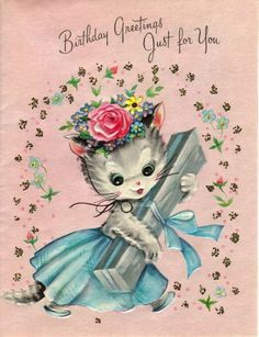 Vintage Birthday Greeting Card Kitty Cat Pink Flowers Glitter Ribbon Gift Used Vintage Birthday Cards, Vintage Greeting Cards, Vintage Christmas Cards, Birthday Greeting Cards, Birthday Greetings, Vintage Postcards, Vintage Images, Birthday Wishes, Kitten Tattoo