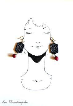 #Black #red #hexagonal  #wood #earrings with white #twirls di Mandragola, €12.00