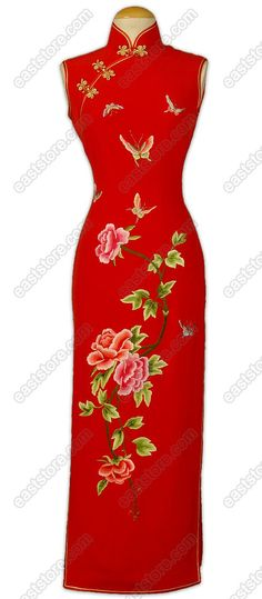 Prosperous Dancing Butterflies and Blooming Peony Silk Cheongsam $228