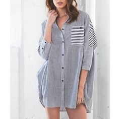 """Tuesday Ordinary"" Striped Boyfriend Top / Shirt 3/4 sleeves or raised striped boyfriend shirt. Only available in this size. Oversized fit. Front pocket with button. Brand new. True to size. PRICE FIRM. NO TRADES DON'T ASK. Bare Anthology Tops Blouses"