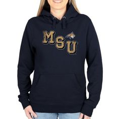 Montana State Bobcats Ladies Acronym Pullover Hoodie - Navy Blue